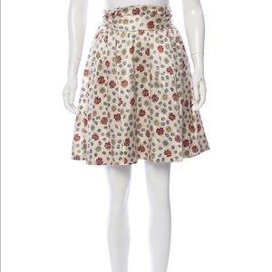 Vintage 100% silk Balenciaga floral skirt